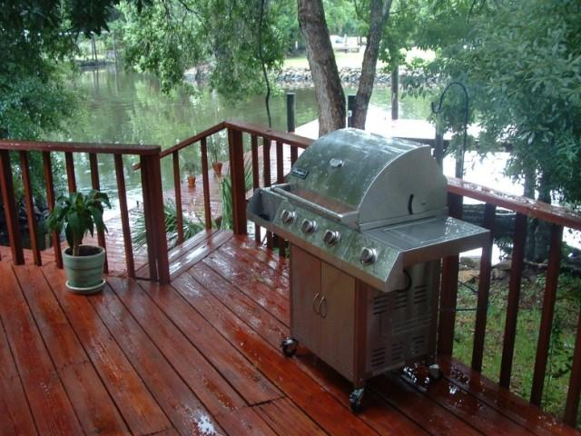 Propane grills should not be used on wooden decks or next to a building