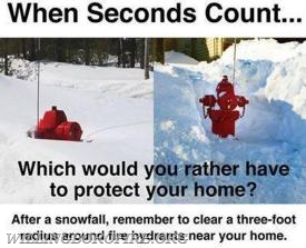 A snow covered fire hydrant can delay firefighters.