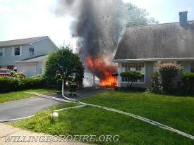 Heavy fire from the garage on arrival of Engine 1613