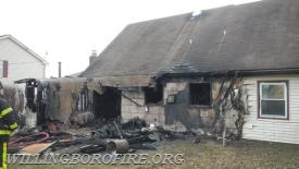 Fire damage to the rear of the home