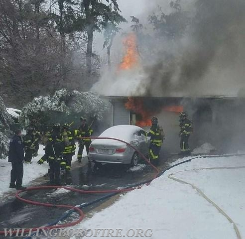 Fire coming from the garage