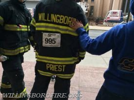 Firefighter Priest prepares to start the climb (photo courtesy of the American Lung Association)