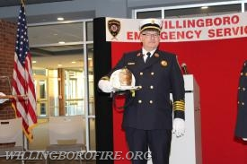 The Deputy Chief was presented with his fire helmet as a retirement gift