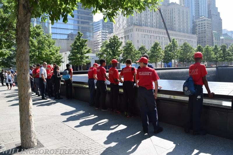The cadets attend several trips during the academy.  Past trips have included the 9-11 Memorial (pictured above), Philadelphia Fire Department Museum, NJ Forestry Service observation tower, New York City Fire Department Training Academy, and Joint-Base Dix-McGuire-Lakehurst Fire Department