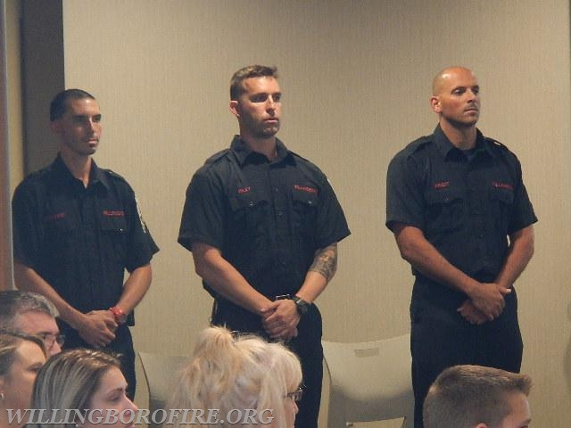 Youth Fire Academy instructors Rosario, Riley, and Priest (L to R)