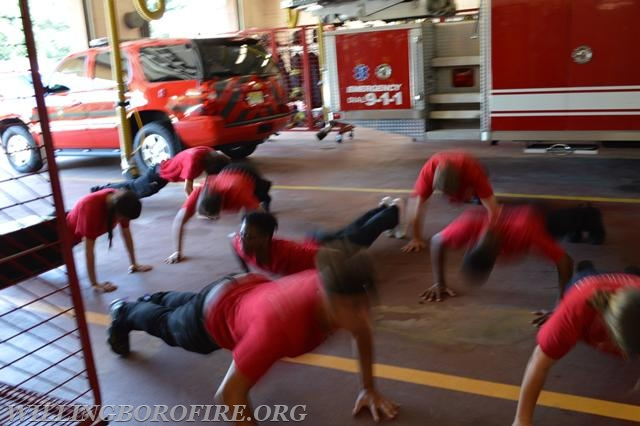 Push-ups during the physical fitness portion of the academy