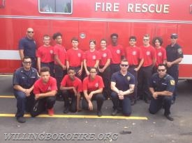 US Coast Guard and Youth Fire Academy cadets and staff