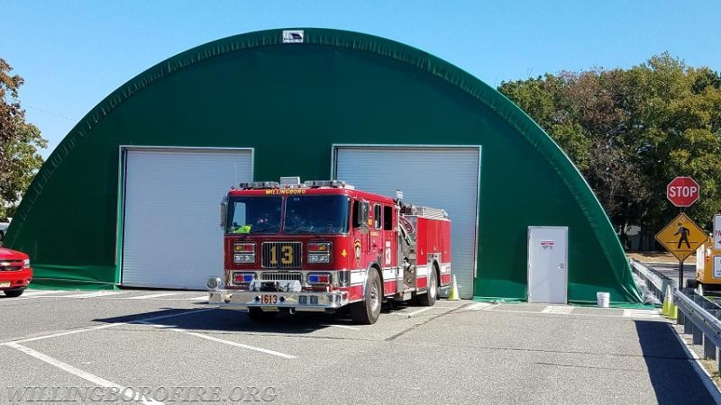 Temporary structure for the fire and EMS vehicles