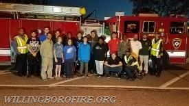 The scouts and firefighters after completing Millbrook Park