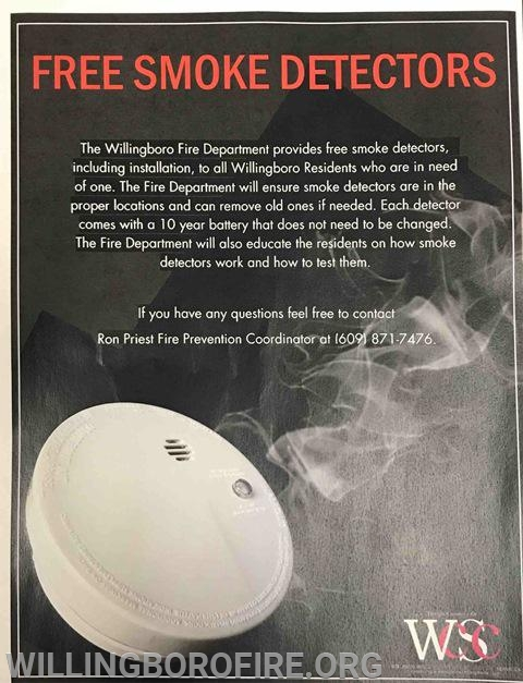 Free smoke detectors are available to Willingboro residents