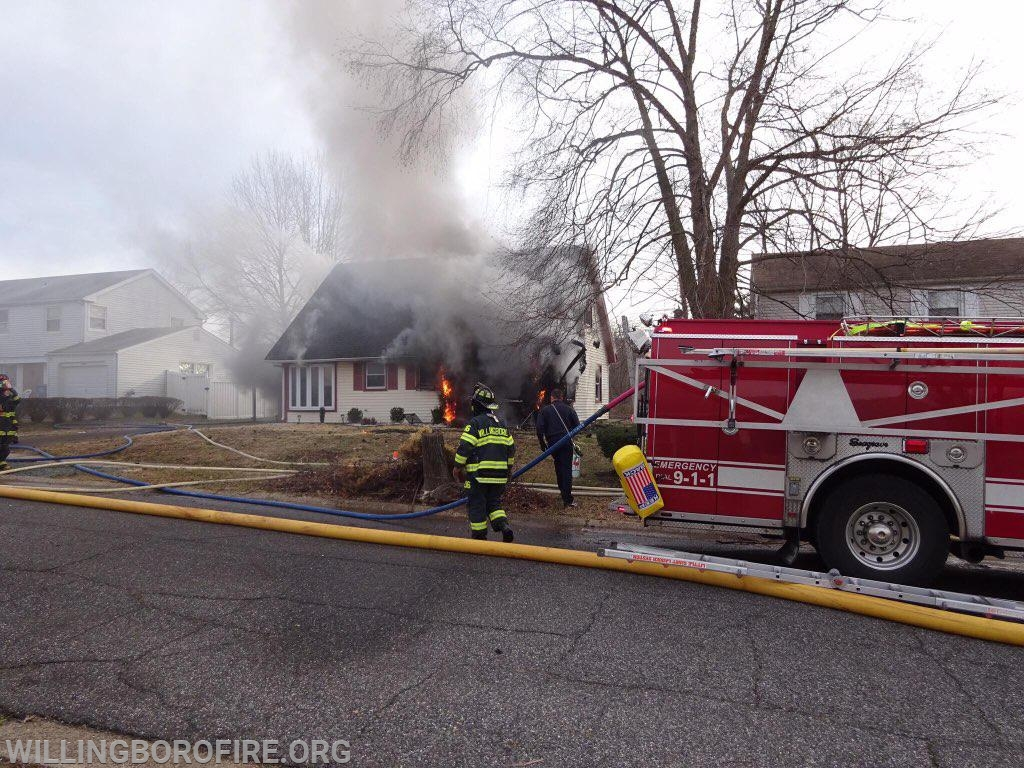 Engine 1613's crew starts to control the fire