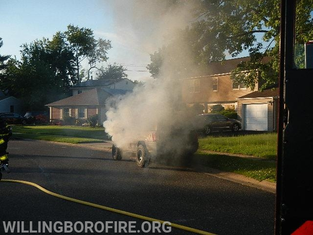 Firefighters arrive to heavy smoke