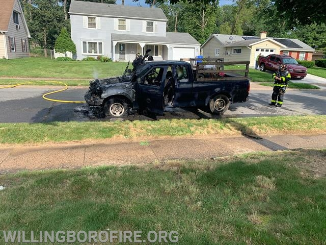 The vehicle sustained heavy damage due to the fire