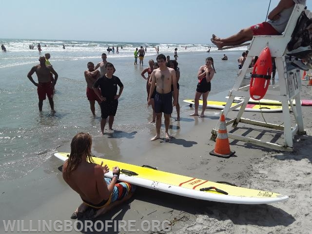 Wildwood Beach Patrol teaching the cadets about water rescue boards