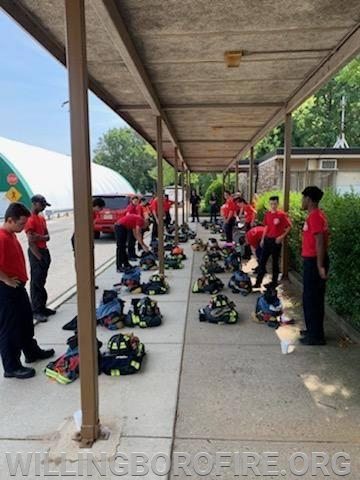 The cadets have their gear lined up and are ready for the 60 second drill