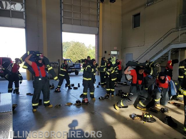 The cadets prepare to go to work at the Burlington County Emergency Services Training Center