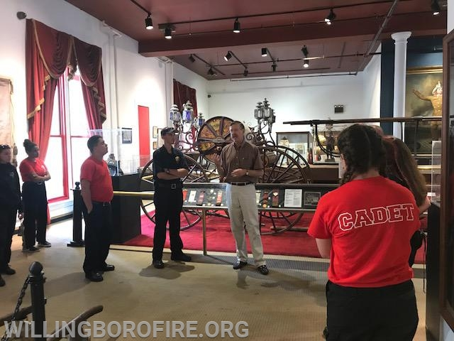 FDNY Fire Museum Executive Director Gary Urbanowicz speaks to the cadets