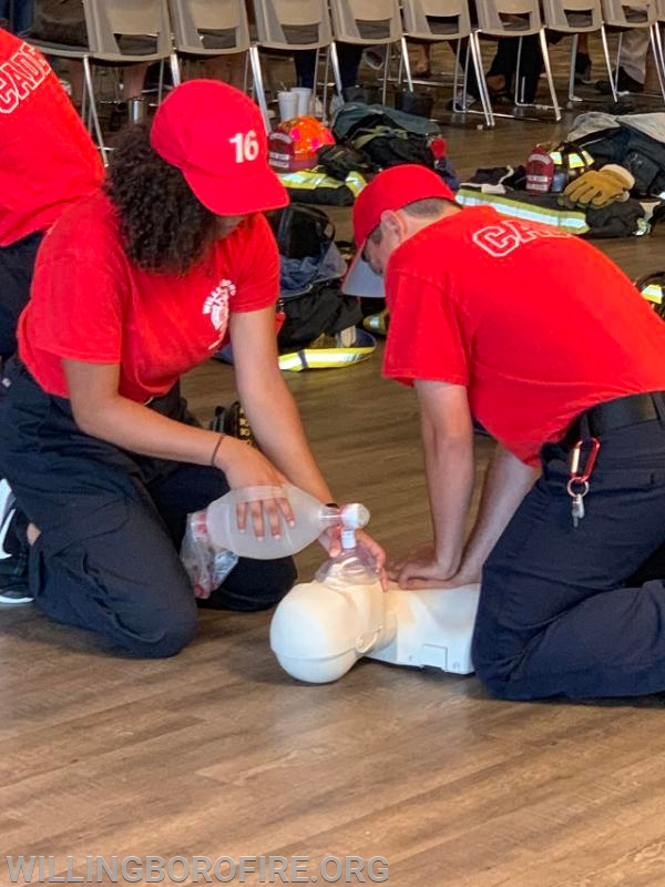 Cadets demonstrating their CPR training
