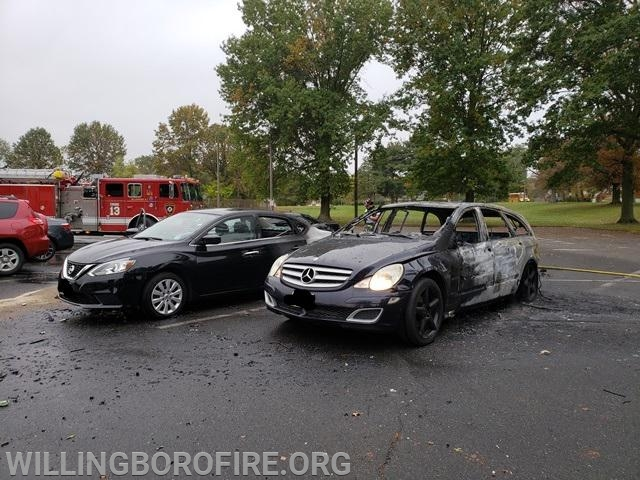 Both vehicles after the fire