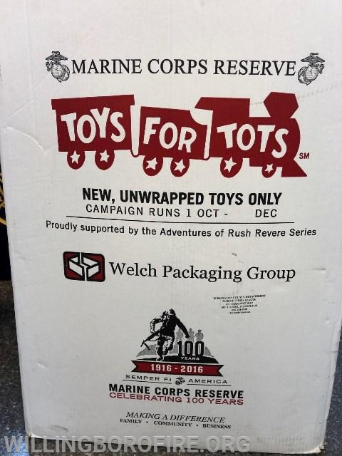 Two collections boxes were filled with toys