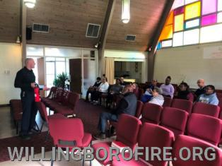 Firefighter Priest speaking about the use of a home fire extinguisher