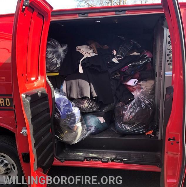 The department's utility van full of coats