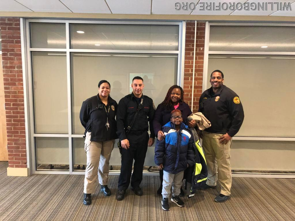 Officer Landrum, Firefighter Centrone, and Officer Norris (l to r) with happy Willingboro residents
